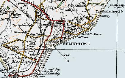 Old map of Felixstowe in 1921