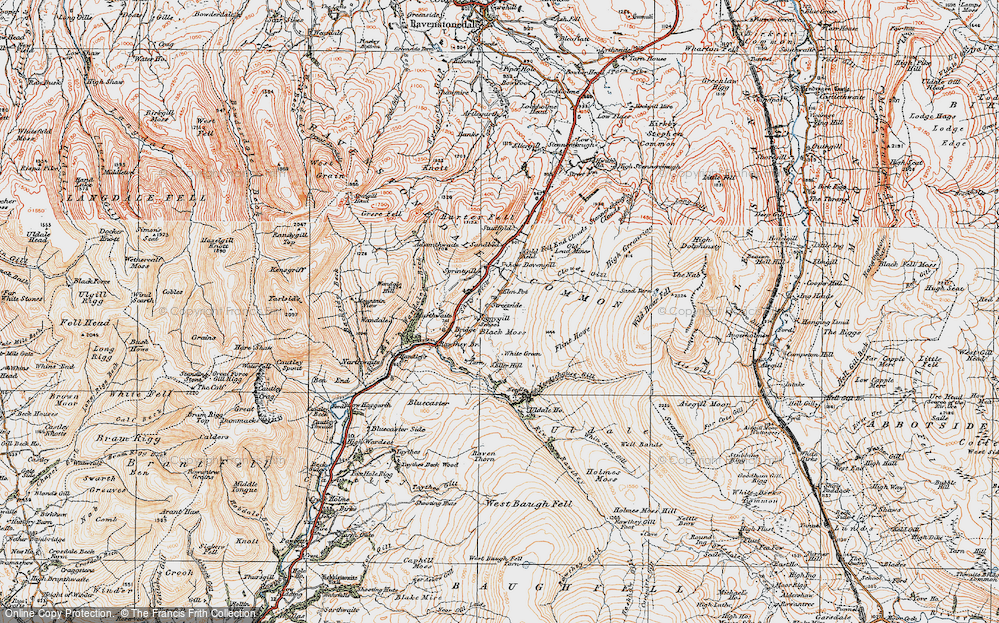 Old Map of Historic Map covering Backside Beck in 1925