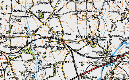 Old map of Feniton in 1919