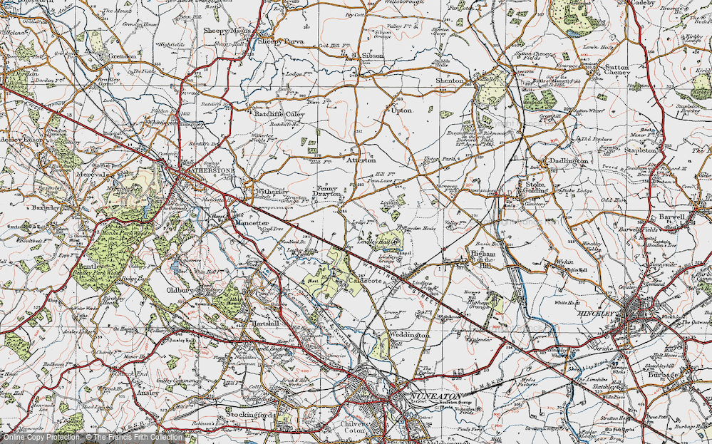 Old Map of Historic Map covering Ashpole Spinney in 1921