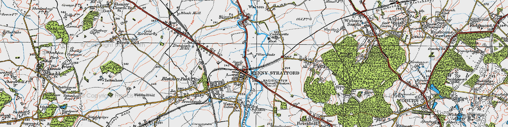 Old map of Fenny Stratford in 1919