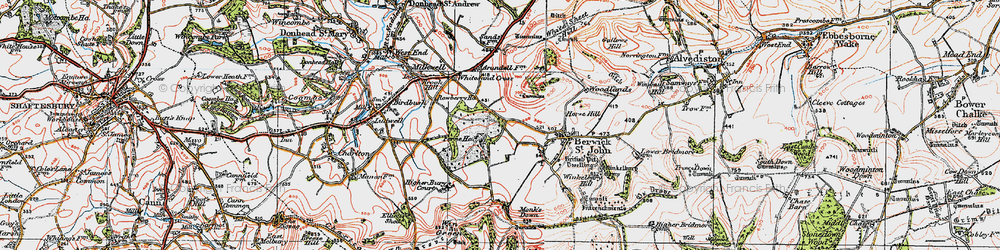 Old map of Win Green in 1919