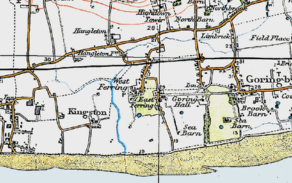 Old map of Ferring in 1920