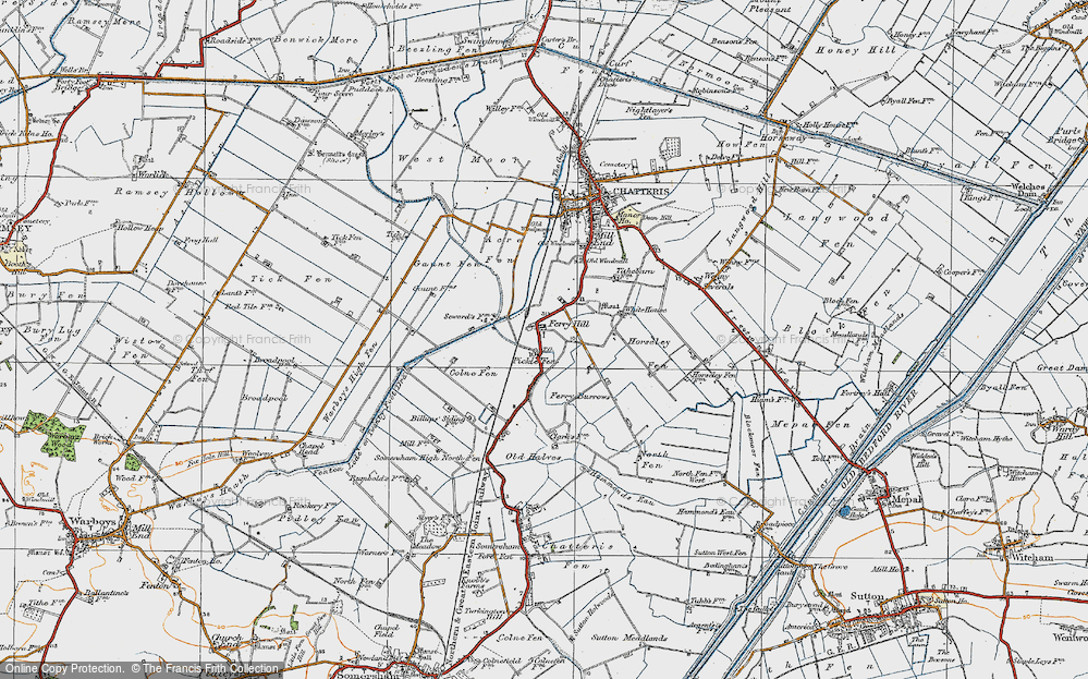 Old Map of Historic Map covering Acre Fen in 1920