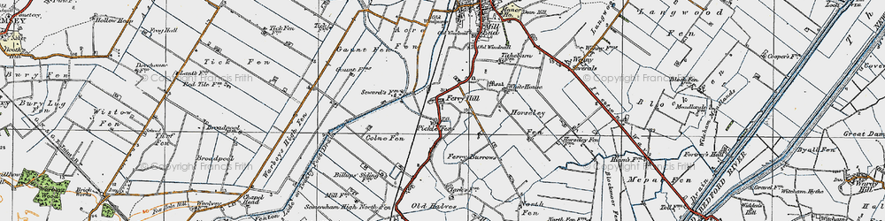 Old map of Acre Fen in 1920
