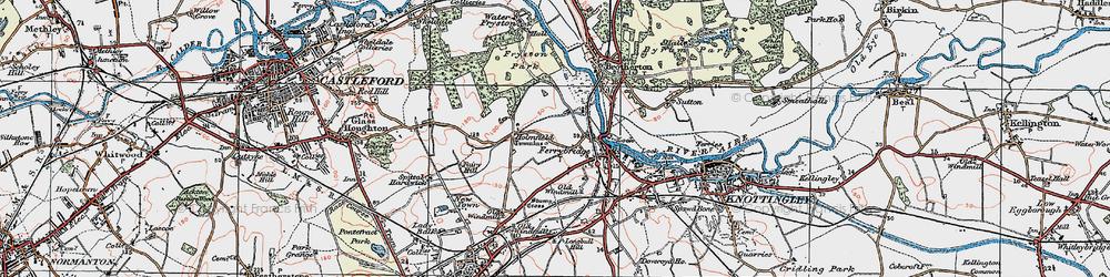 Old map of Ferrybridge in 1925