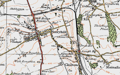 Old map of Ferryhill in 1925