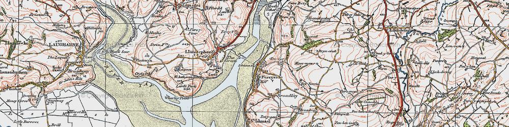 Old map of Ferryside in 1923