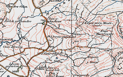 Old map of Y Felin Fach in 1922