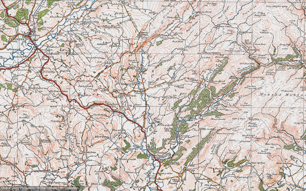 Old Map of Historic Map covering Afon Fanafas in 1923