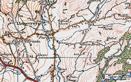 Old map of Afon Fanafas in 1923