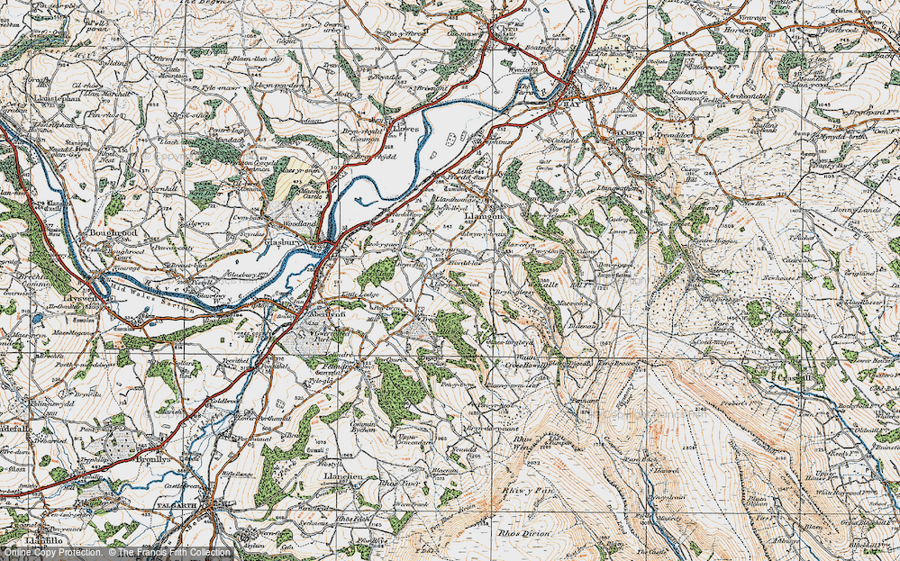 Old Map of Historic Map covering Allt Wood in 1919