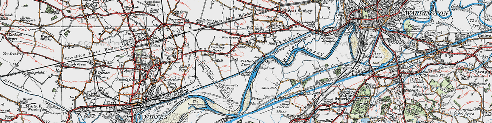 Old map of Fiddler's Ferry in 1923