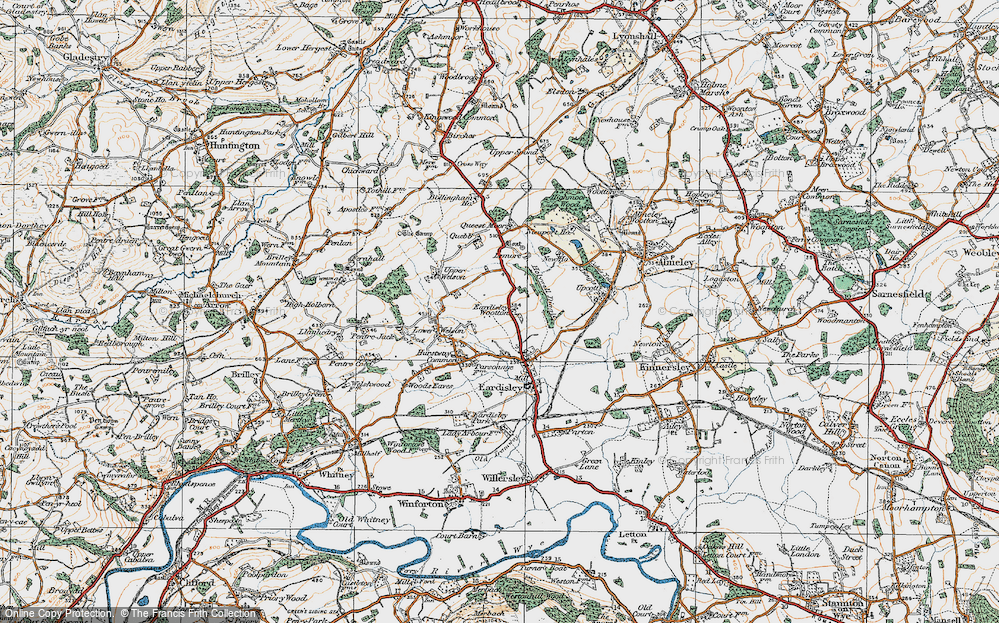 Old Map of Historic Map covering Lemore Manor in 1919