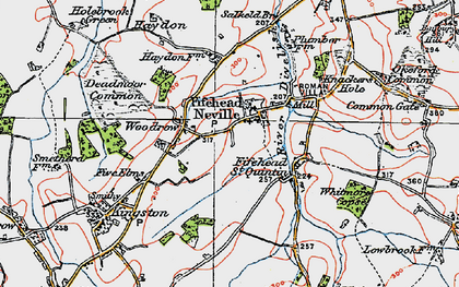 Old map of Fifehead Neville in 1919
