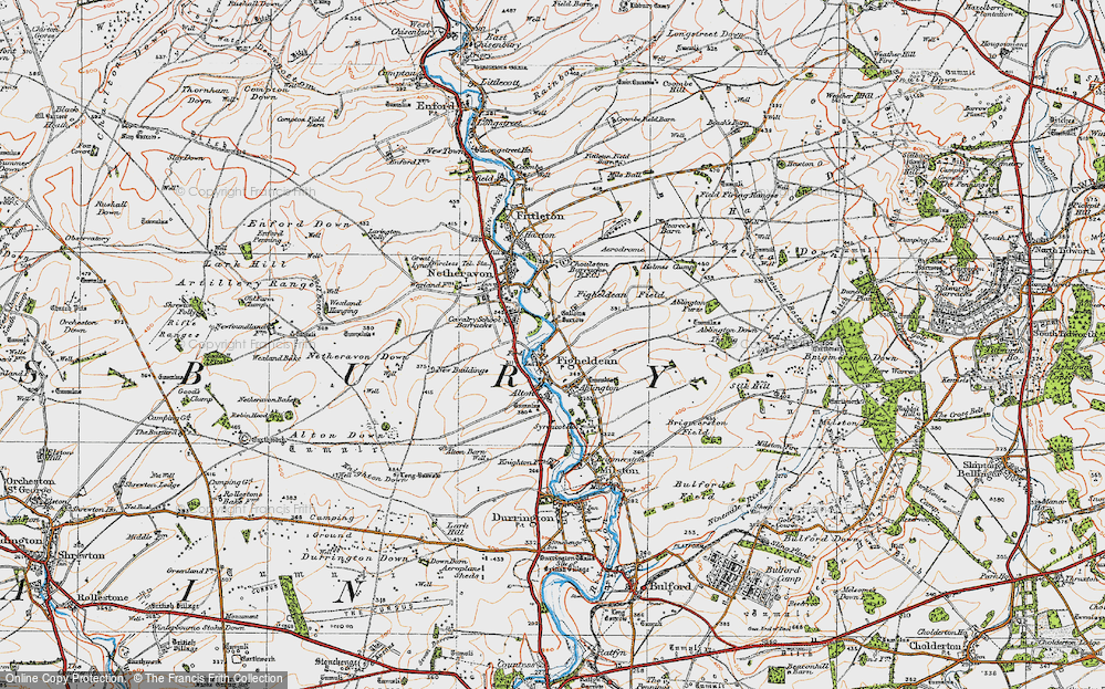 Old Map of Historic Map covering Ablington Furze in 1919