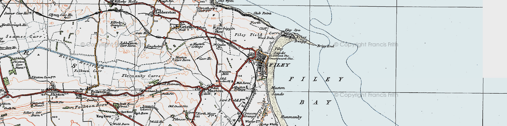 Old map of Filey in 1925