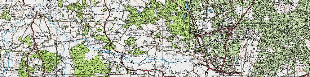 Old map of Finchampstead in 1919