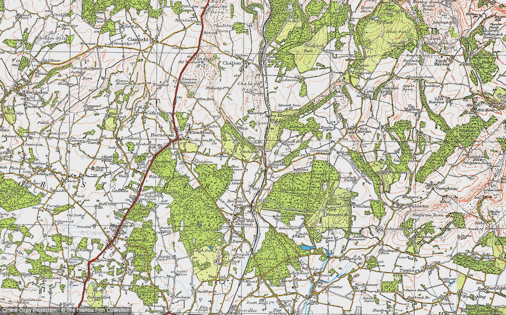 Old Map of Historic Map covering Woodhouse in 1919