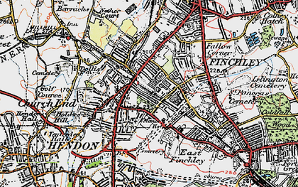 Old map of Finchley in 1920