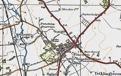 Old map of Finedon in 1919