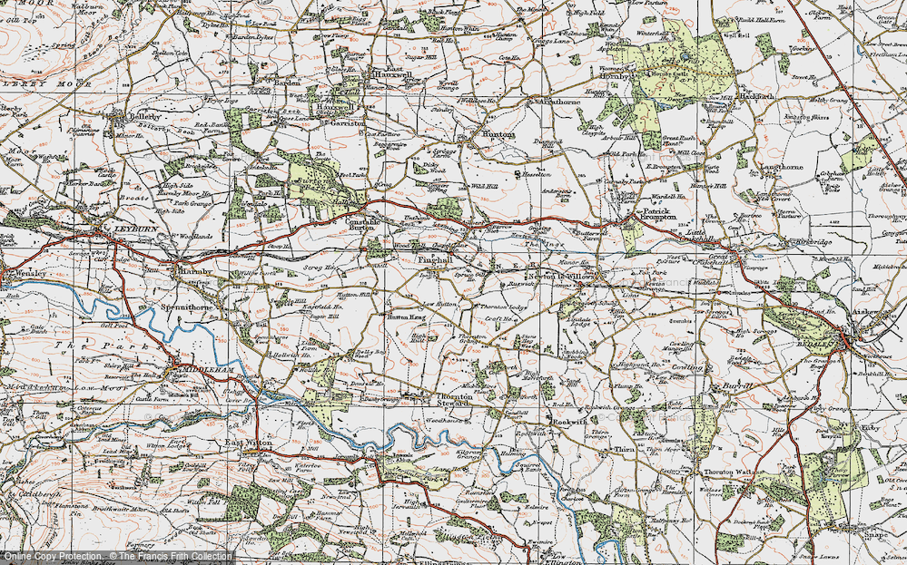 Old Map of Historic Map covering Akebar Cotts in 1925