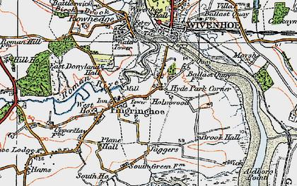 Old map of Fingringhoe in 1921