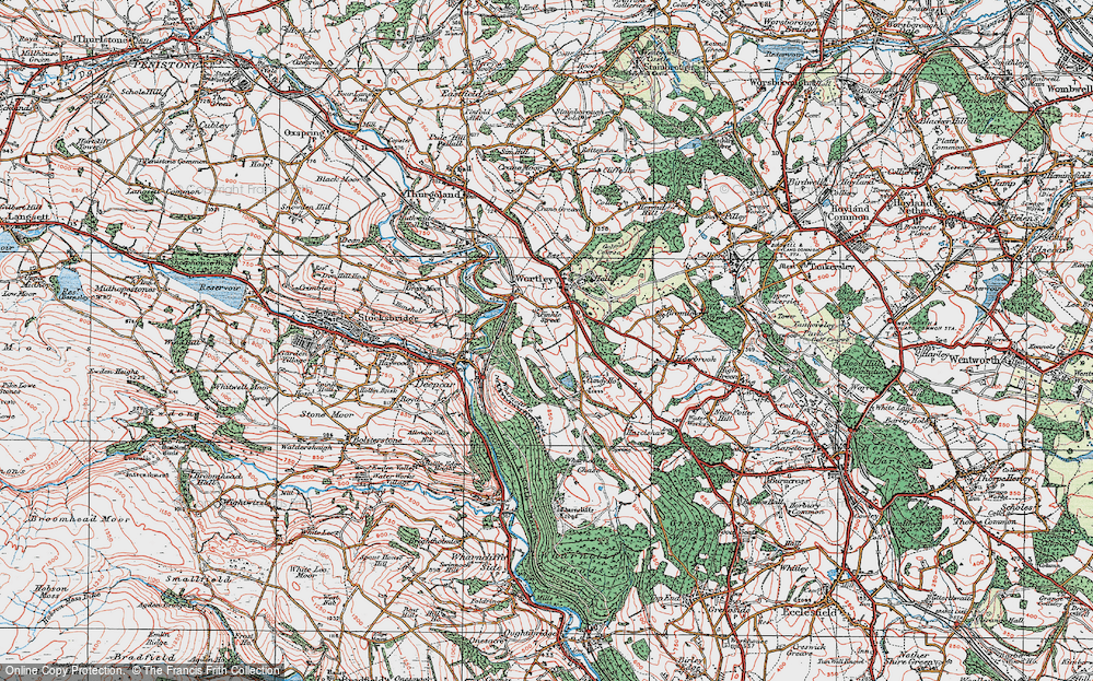 Old Map of Historic Map covering Wharncliffe Resr in 1924