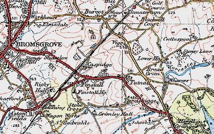 Old map of Lickey Incline in 1919