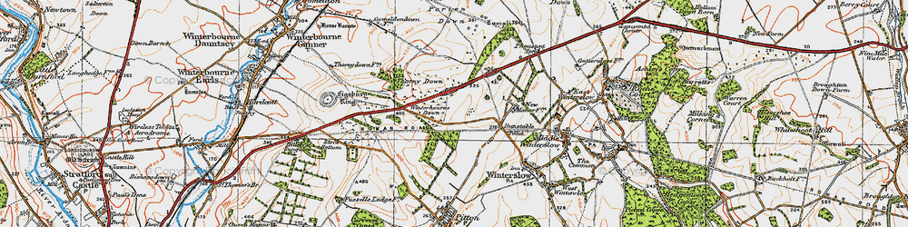 Old map of Winterbourne Down in 1919