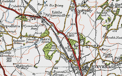 Old map of Fishers Green in 1919