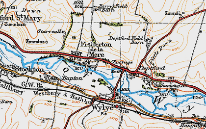 Old map of Wylye Valley in 1919