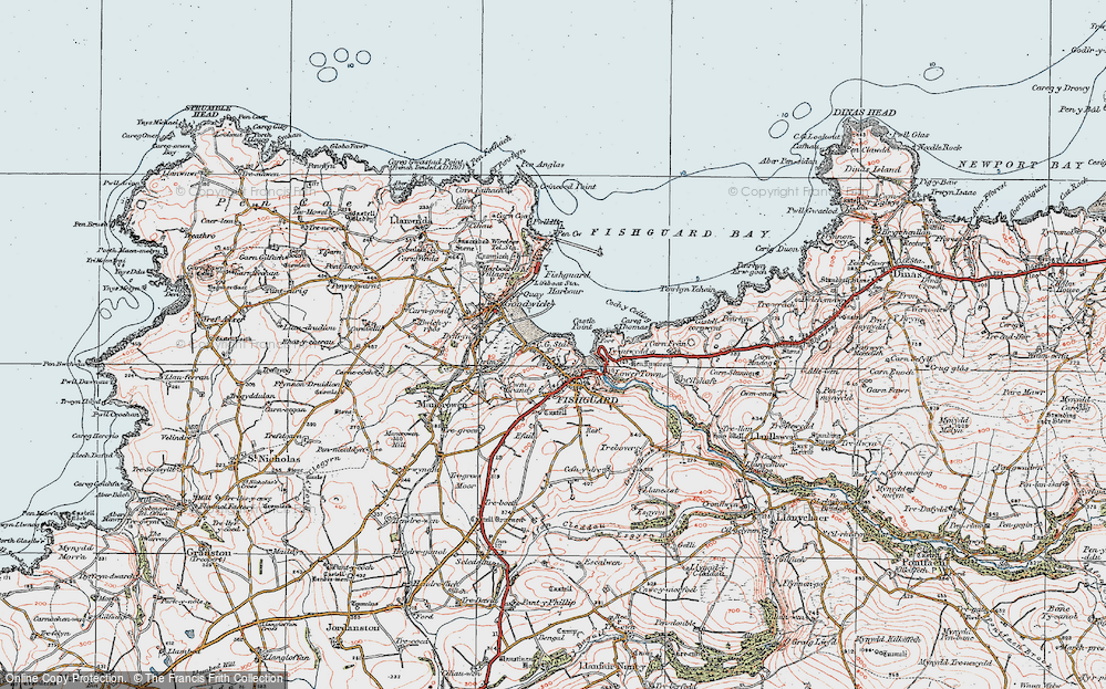 Old Map of Fishguard, 1923 in 1923