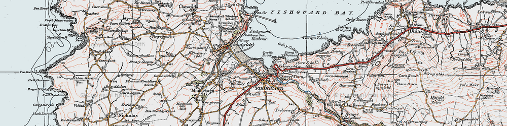 Old map of Fishguard in 1923