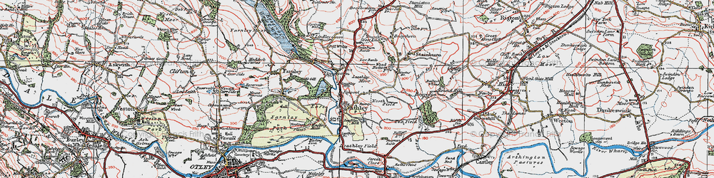 Old map of Leathley Br in 1925