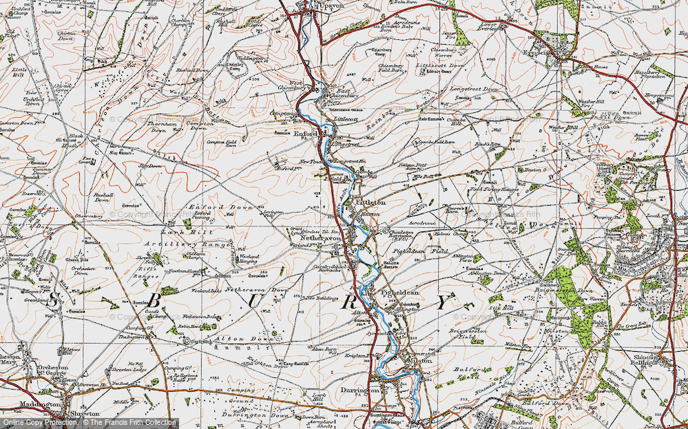 Old Map of Historic Map covering Lavington Folly in 1919