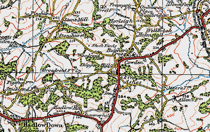 Old map of Five Ashes in 1920