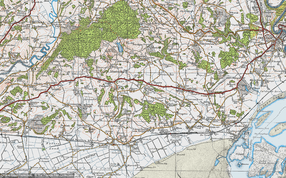 Old Map of Historic Map covering Woodcock Hill in 1919