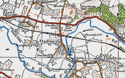 Old map of Fladbury in 1919