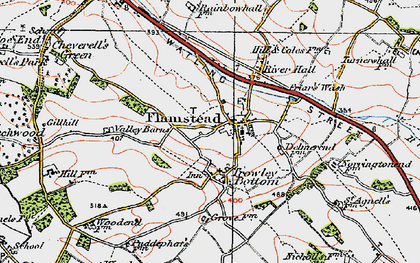 Old map of Flamstead in 1920