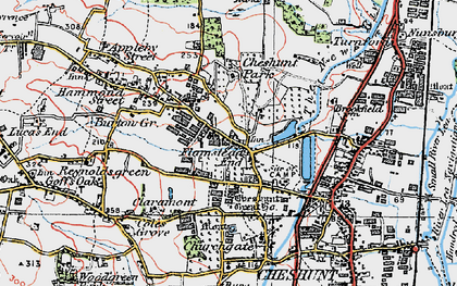 Old map of Flamstead End in 1920
