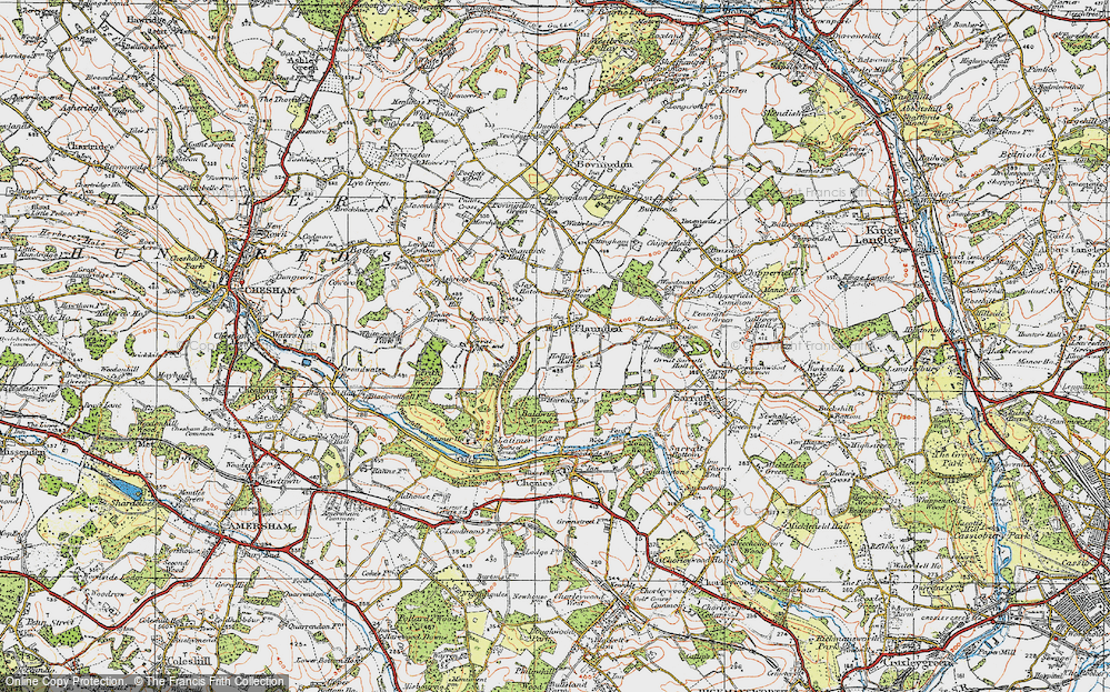 Old Map of Historic Map covering Baldwin's Wood in 1920