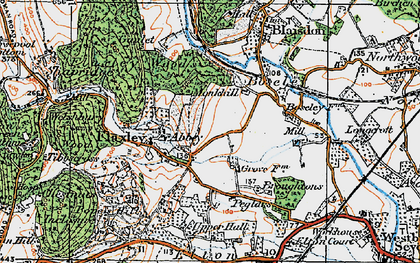 Old map of Flaxley in 1919