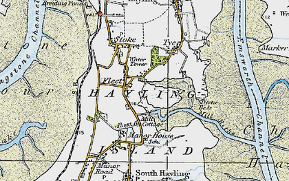 Old map of Hayling Island in 1919