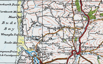 Old map of Flexbury in 1919