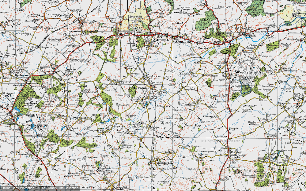 Old Map of Flitwick, 1919 in 1919