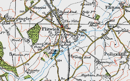 Old map of Flitwick in 1919