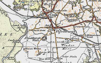 Old map of Flookburgh in 1925