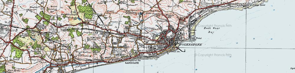 Old map of Folkestone in 1920