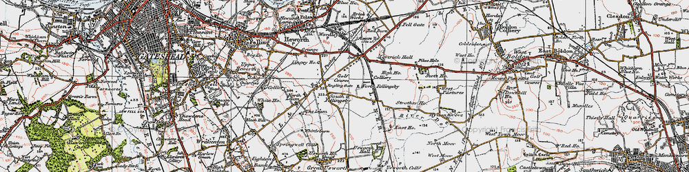 Old map of Wrakendike (Roman Road) in 1925